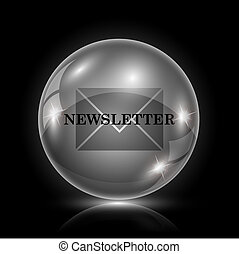 Newsletter icon - Shiny glossy icon - glass ball on black...