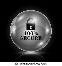 100 percent secure icon - Shiny glossy icon - glass ball on...