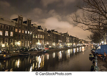 canal in Amsterdam at night