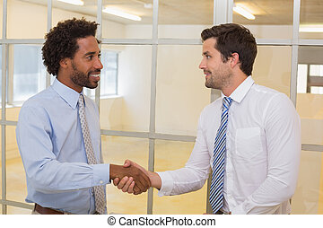 Smiling businessmen shaking hands in office