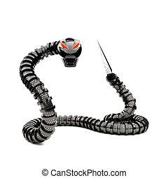 Futuristic robot snake. - Futuristic robot snake on a white...