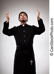 sacerdote, Levantar, Manos, rezando