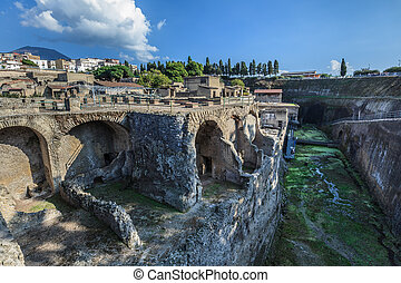 Herculaneum,Naples Italy - General View of Excavations of...