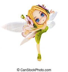 Cute toon ballerina fairy. - Cute toon ballerina fairy on a...