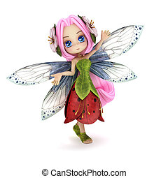 Cute toon fairy posing. - Cute toon fairy posing on a white...
