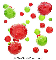 Colored wet apple's background.
