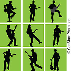 high quality guitar player silhouette set