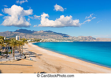 Altea Playa del Albir of white stones in Alicante Spain -...