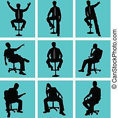 man, positie, zittende
