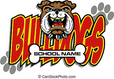 bulldog mascot with bone design