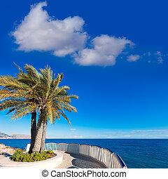 Altea beach balconade typical white Mediterranean village...