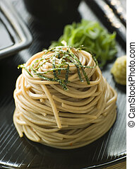 Chilled Soba Noodles With Wasabi and Soy Sauce - Stack of...