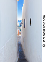 Altea old village white narrow street typical Mediterranean...