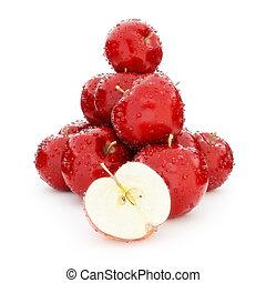 Juicy wet group of apples.