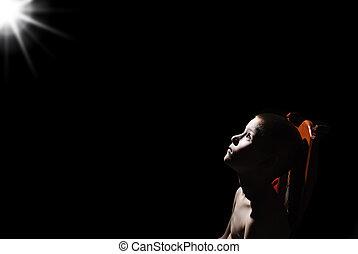 boy in the dark - desperate look in the dark boy on a star