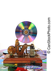 old telegraph with CD or DVD
