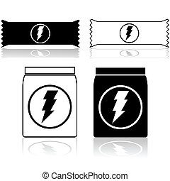 Power bar and powder - Icons showing power cereal bars and...
