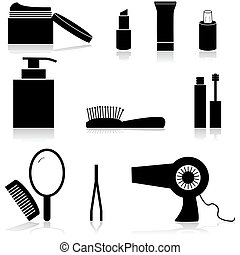 Beauty icons - Icon set showing different beauty items such...