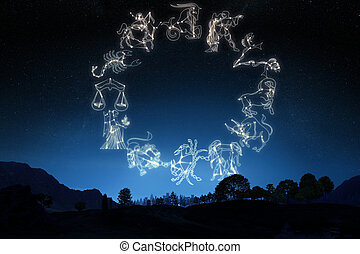 Zodiac Signs on a sky background - Zodiac Signs on a...