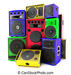 Colored group of speakers ,loud or abused concept...