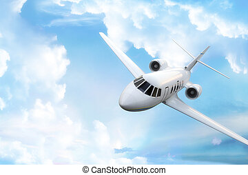 Private business jet. - Private business jet with sky...