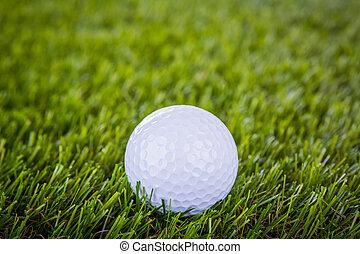 golf, balle, vert, herbe
