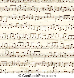 Repeating Musical Notes - Faded old random musical notes...