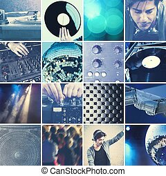 DJ playing music collage - Collage of DJ at work that...