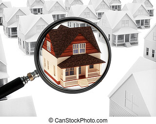 House with a magnifying glass. - Real estate watch. House...