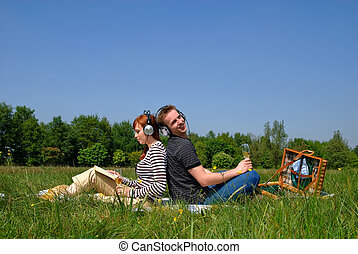 Couple love nature - Young handsome couple on picnic, nature...