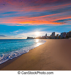 Benidorm Alicante playa de Poniente beach sunset in Spain -...