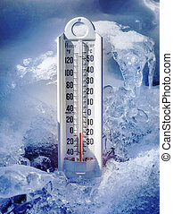 Ice cold thermometer in ice and snow to illustrate global...