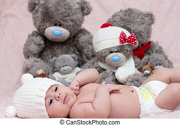 Cute funny infant baby with toy