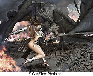 Dragon Slayer female sexy warrior - Dragon Slayer, female...