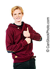 good sign - Portrait of young man in casual clothes....