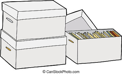 Business File Storage - Three boxes with documents over...