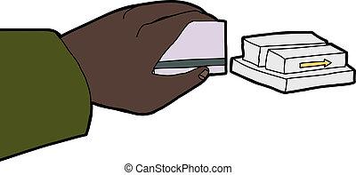 Hand Swiping Card