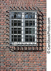 Brick Wall with Window Guard - Brick Wall with Window...