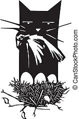 Bird Hunting Cat - Woodcut style image of a cat killing a...