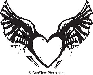 Winged Heart Black White - Black and White Woodcut style...