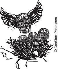 Flock of Death - Woodcut style image of Mexican skulls with...