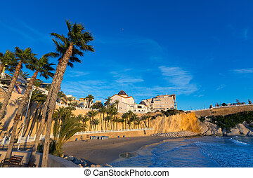 Benidorm Alicante playa del Mal Pas beach at sunset in Spain...