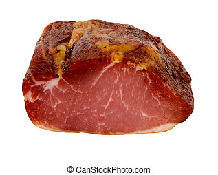 SMOKED MEAT - lachsschinken,smoked meat on a white...
