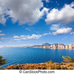 Benidorm skyline Levante beach in blue Mediterranean sea