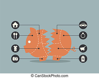 Cuts of Pork Broken Piggy Bank concept for financial