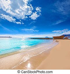 Calpe playa Cantal Roig beach near Penon Ifach Alicante -...