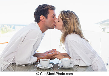Side view of a loving couple kissing - Side view of a loving...