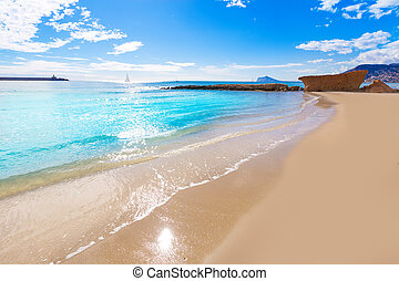 Calpe playa Cantal Roig beach near Penon Ifach Alicante -...
