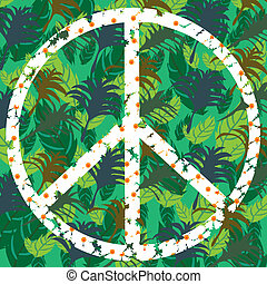 Pacifik - peace symbol in shades of green, vector illustration