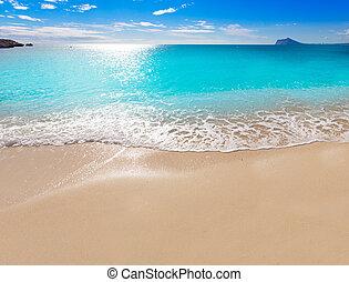 Calpe Cala el Raco beach in Mediterranean Alicante of Spain